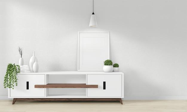 Cabinet design in legno nella moderna stanza vuota giapponese - stile zen, design minimale. rendering 3d
