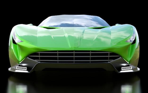 Cabriolet di sport concettuale verde per guidare intorno alla città e pista da corsa