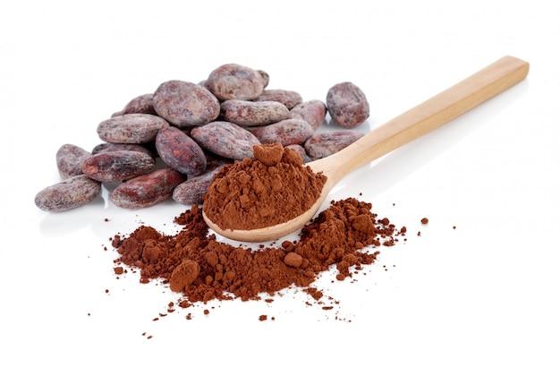 Cacao in polvere e fagioli isolati su bianco