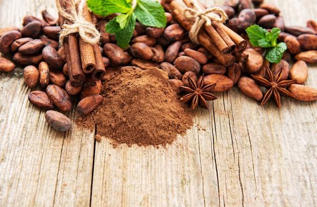 Cacao in polvere e fagioli