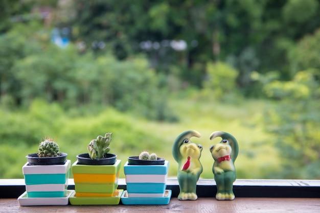 Cactus in vaso con ceramica catoon rana post amore sulla scrivania di colore marrone