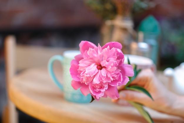 Caffè all'aperto. accogliente caffetteria all'aperto
