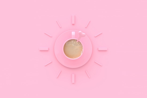 Caffè in tazza rosa creativo per tempo.