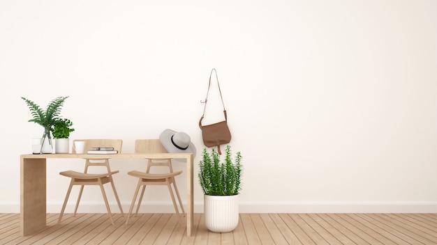 Caffetteria o spazio di lavoro e spazio per opere d'arte - rendering 3d