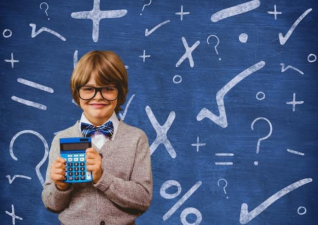 Calcolatrice bambino educazione finanza copia spazio
