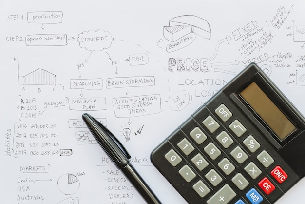 Calcolatrice con penna su carta del piano aziendale