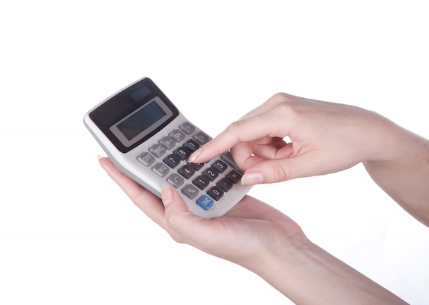 Calcolatrice in mano