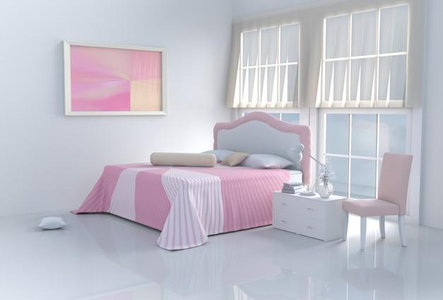Calda stanza da letto rosa in giornata felice. rendering 3d