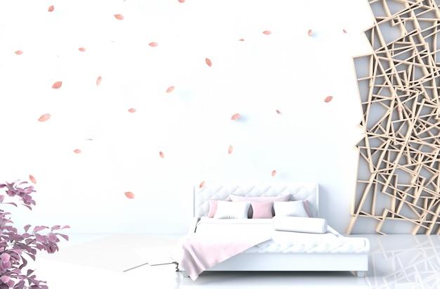 Caldo arredamento camera da letto bianco con muro di cemento bianco