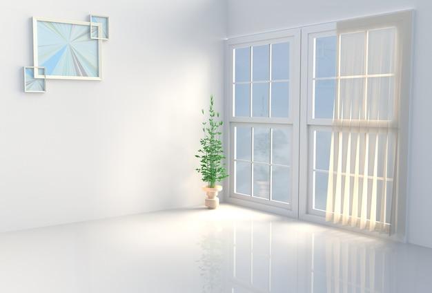 Caldo arredamento della camera bianca. il sole splende attraverso la finestra nell'ombra. rendering 3d