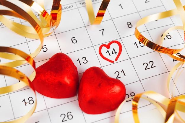 Calendario con data di san valentino