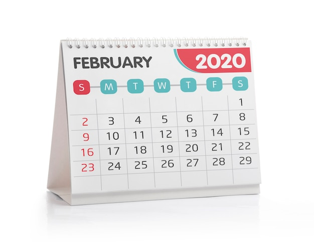 Calendario desktop di febbraio 2020