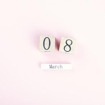 Calendario di blocco di legno internazionale dell'8 marzo womens day