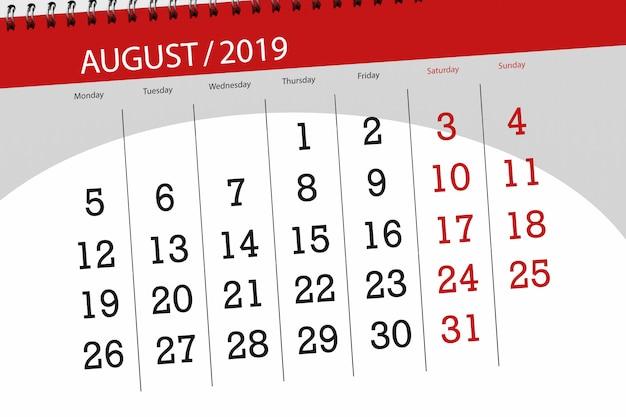Calendario pianificatore per il mese, termine ultimo della settimana 2019 agosto