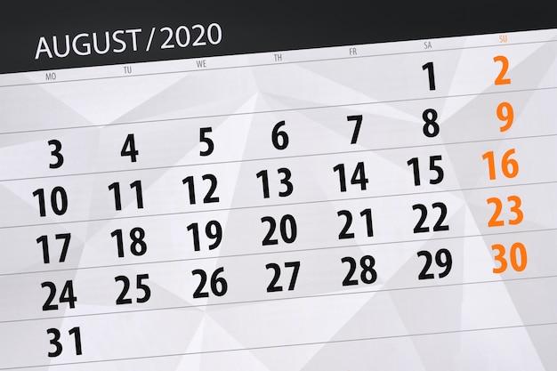 Calendario planner per il mese di agosto 2020, giorno di scadenza