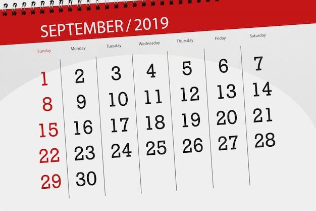 Calendario planner per il mese di settembre 2019, giorno di scadenza