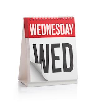 Calendario settimanale, pagina del mercoledì