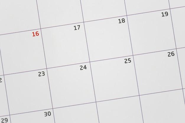 Calendario vuoto per mettere a fuoco