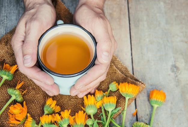 Calendula tè e fiori. messa a fuoco selettiva natura.