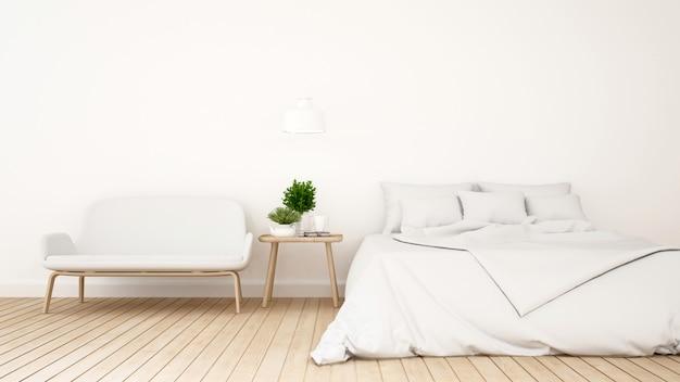 Camera da letto bianca o guestroom per la progettazione minima dell'hotel - rappresentazione 3d