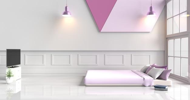 Camera da letto bianco-viola decorata con letto viola, cuscini viola, lampada, tv, muro di cemento bianco. 3d