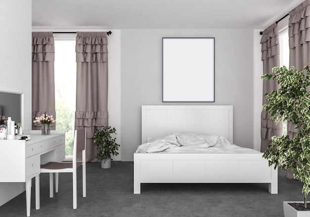 Camera da letto con cornice verticale