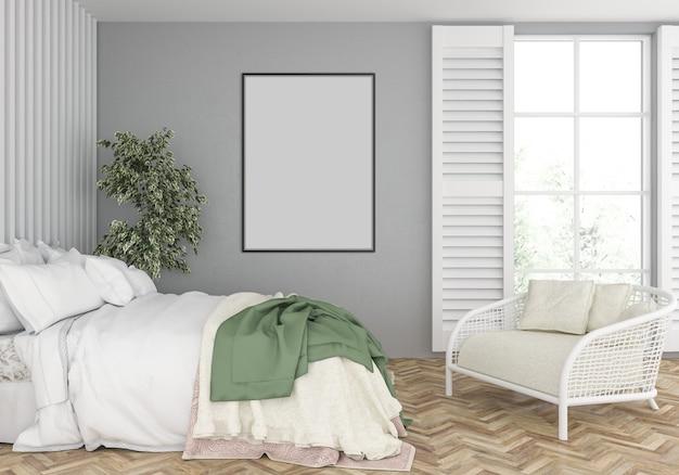 Camera da letto con mockup cornice verticale vuota