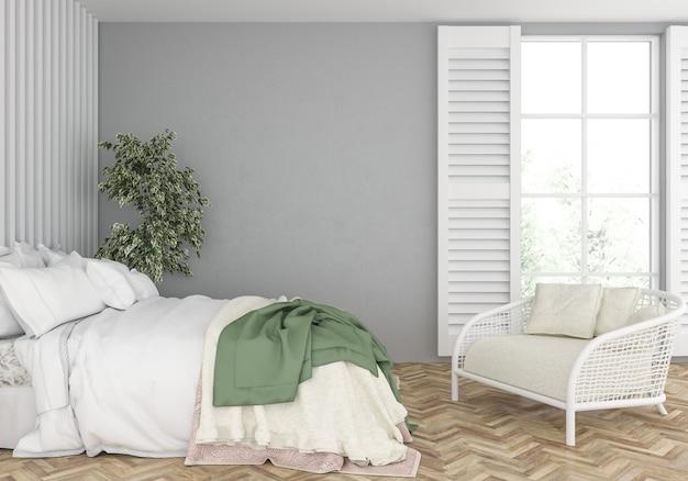 Camera da letto con mockup di muro bianco
