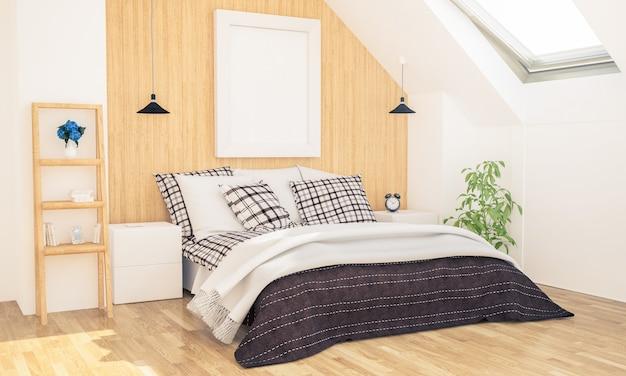 Camera da letto con mockup di poster su soffitta