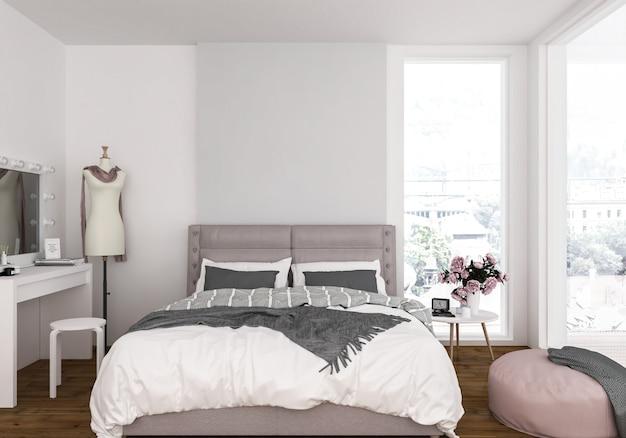 Camera da letto con muro bianco