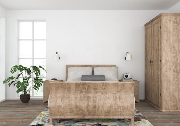 Camera da letto del paese con parete vuota, esposizione di opere d'arte