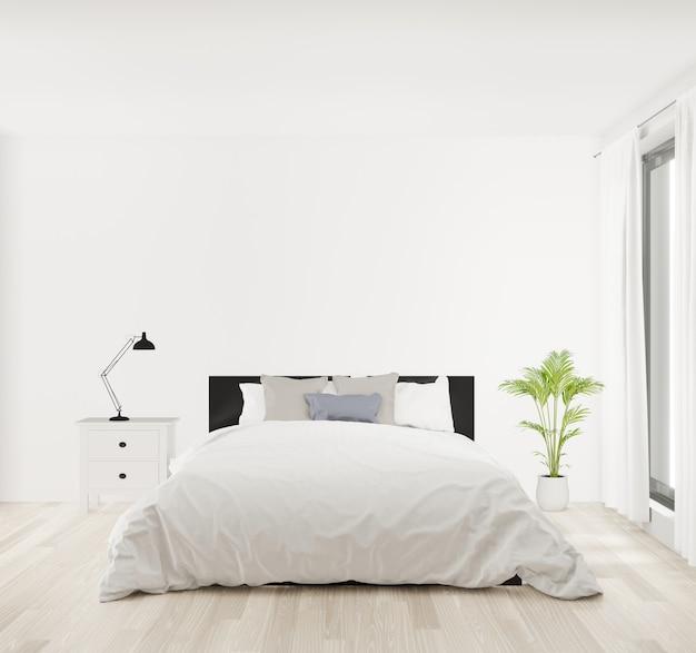 Camera da letto della rappresentazione 3d con la parete bianca, pavimento di legno, grande finestra