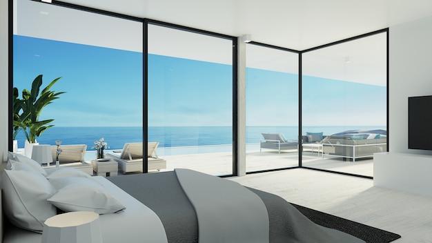 Camera da letto della spiaggia / rendering 3d