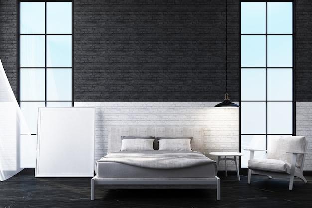 Camera da letto dello spazio interno con la rappresentazione bianca del mattone 3d della parete