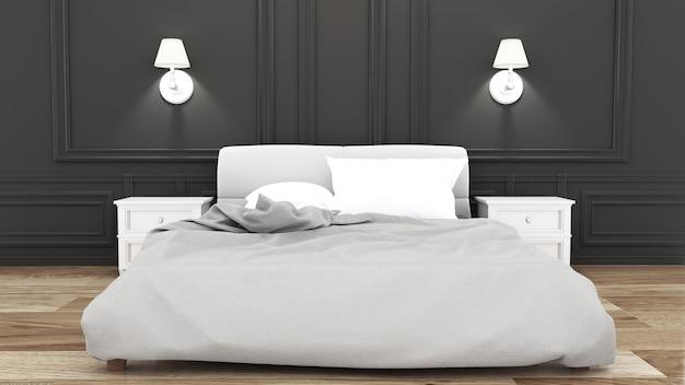 Camera da letto di eleganza sulla parete nera stile di lusso. rendering 3d