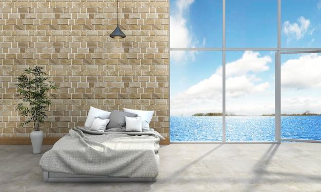 Camera da letto di stile del sottotetto della rappresentazione 3d vicino al mare