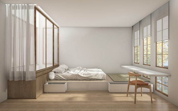 Camera da letto di stile giapponese della rappresentazione 3d con decorazione minima