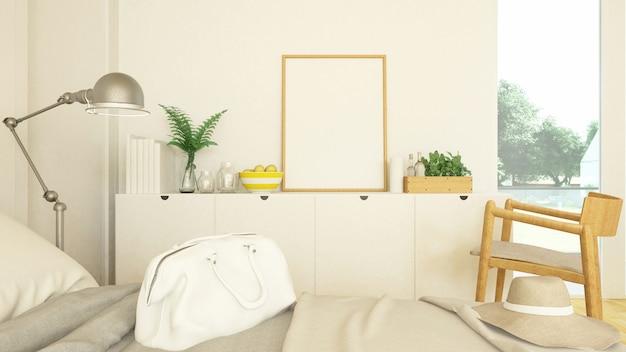 Camera da letto e soggiorno in condominio o hotel -3d rendering