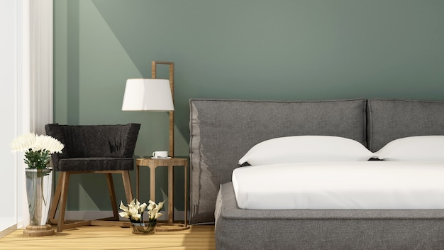 Camera da letto e soggiorno in hotel o casa in una giornata di sole