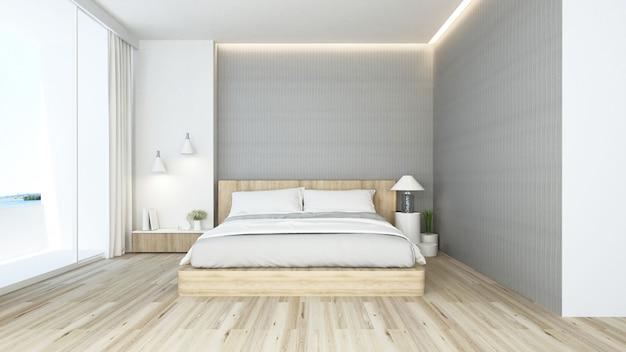 Camera da letto e zona soggiorno in hotel o appartamento, interni