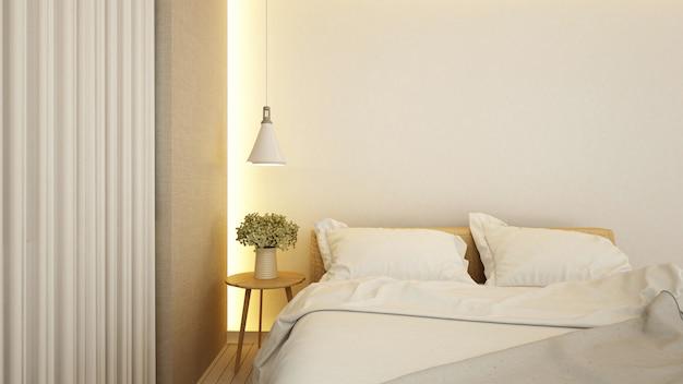 Camera da letto in hotel o appartamento - rendering 3d