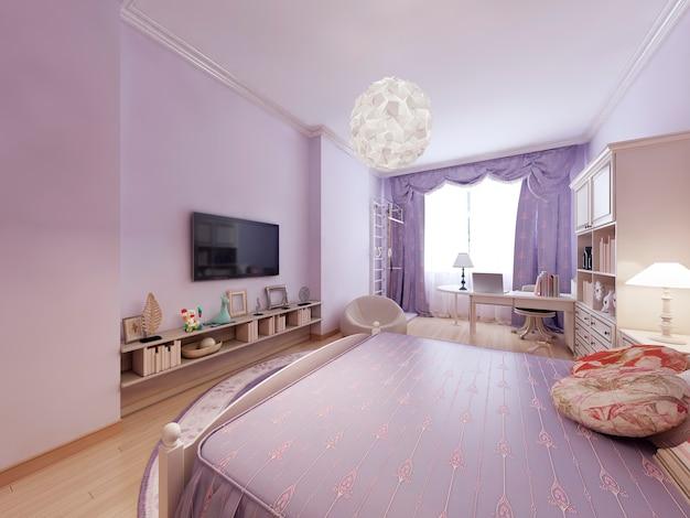 Camera da letto in stile classico e ampio letto per dormire.