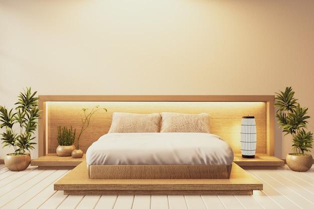 Camera da letto in stile giapponese e luce da parete con piante e decorazione lampada sul pavimento in tatami