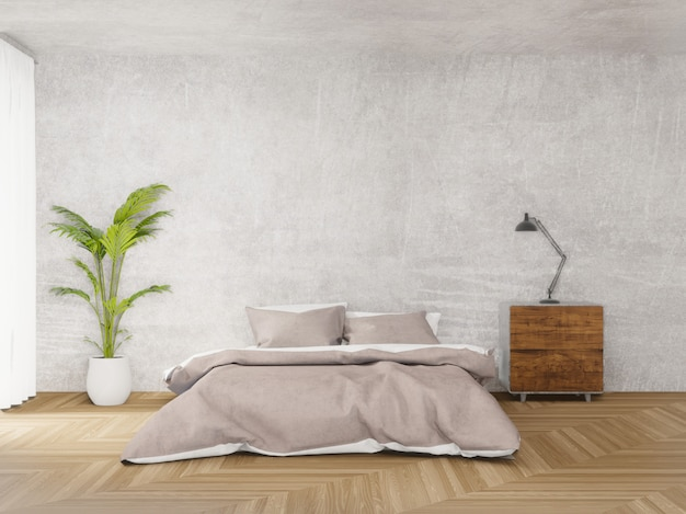Camera da letto in stile loft con cemento grezzo, pavimento in legno, grande finestra 3d rendering