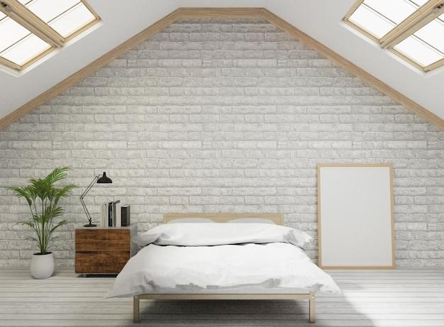 Camera da letto in stile loft con muro di mattoni bianchi, pavimento in legno, albero, cornice per mock up