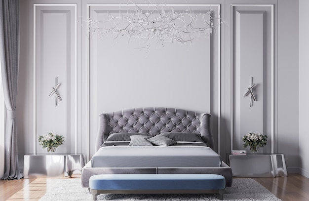 Camera da letto interna di lusso, modelli interni, sfondo classico vuoto grigio, pareti luminose, interni moderni, mobili ultra moderni, rendering 3d