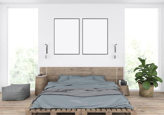 Camera da letto maschile rustica con letto di pallet in legno, doppi telai a quadri, vetrine d'arte