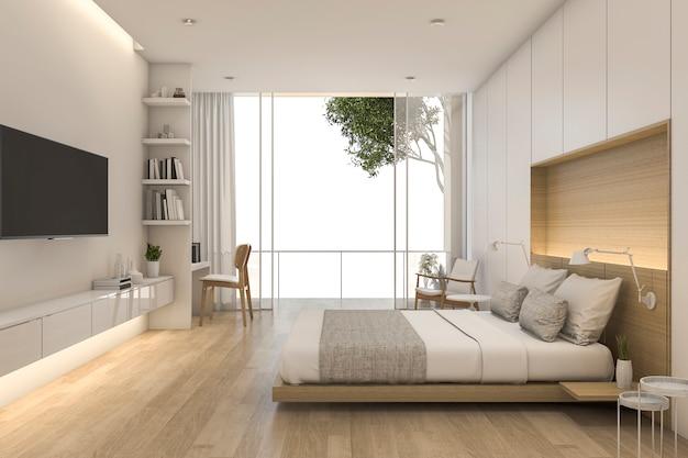 Camera da letto minima di legno di legno della rappresentazione 3d con la vista dalla finestra