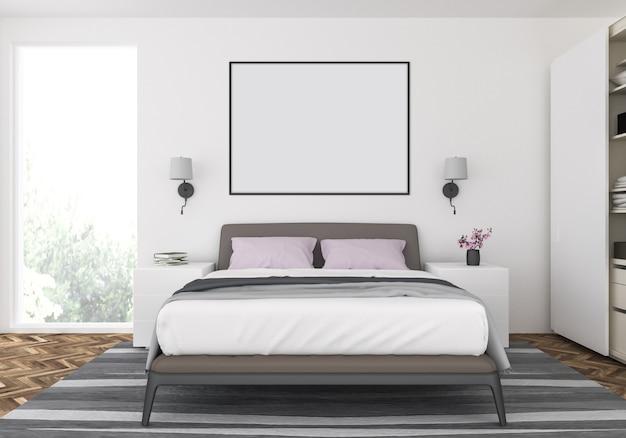 Camera da letto moderna con cornice orizzontale vuota