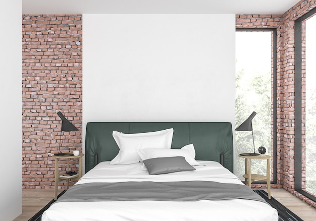 Camera da letto moderna con muro bianco